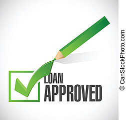 load approved check mark illustration design over a white...