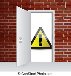 warning sign and open door illustration