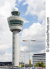 Schiphol, lotnisko, dowodzić, wieża, przeciw, pochmurny,...