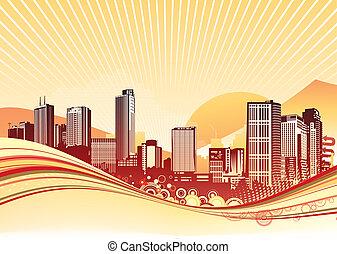 urban background - illustration of Big City. Orange urban...