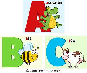 ABC Cartoon Alphabet. Collection - ABC Funny Cartoon...