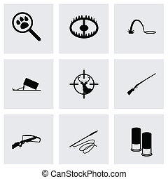 Vector black hunting icons set on grey background