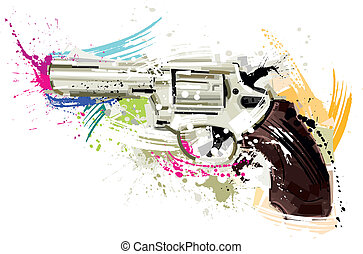 Silver Revolver - Vector Image was digital created. isolated...