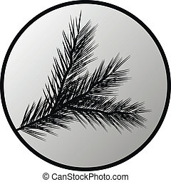 Fir tree branch button on white background. Vector...