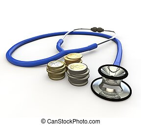 Phonendoscope and coins. The scene - health costs money. The...