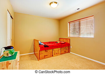 Kidss room with wooden bed - Kids room in bright ivory with...