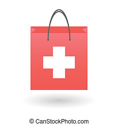 Shopping bag with a swiss flag - Illustration of an isolated...