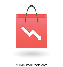 Shopping bag with an info chart icon - Illustration of an...