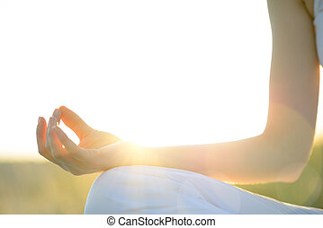 Young Beautiful Woman Practices Yoga on the Sunny Meadow...