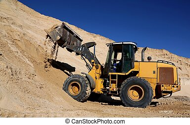 Front End Loader in Sand Quarry - Front end loader machine...