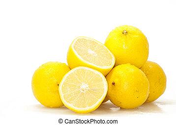 Lemons - Lots of lemons isolated over white background