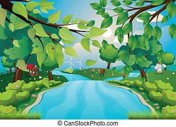 Hills and River - Green rural landscape with trees and river...