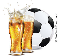 Beer and Soccer Ball - Glass of beer and soccer (football)...