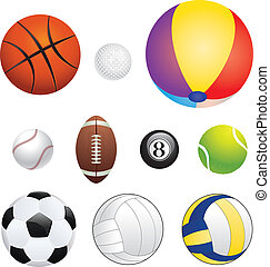 Sport Balls - Different sport balls set on white background.