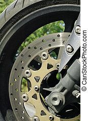 motorcycle brake - close-up of a motorcycle tire and brake...