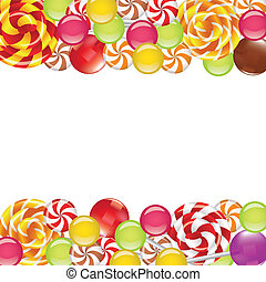 Borders with candies and lollipops on white background