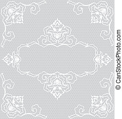 Lace frame - Lace background with white floral pattern frame