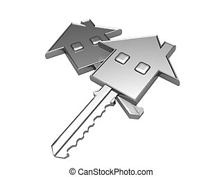 House key and real estate concept - key with a house icon...