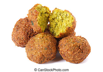 whole and half falafel isolated on a white background...