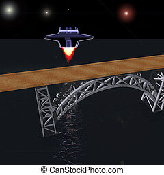 Interplanetary spacecraft flies to the bridge at night