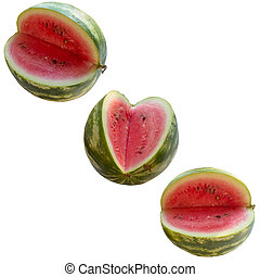 Water-melon on a white background. - Baccate, Berry, Part,...