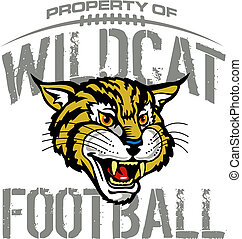 wildcat football design with mascot