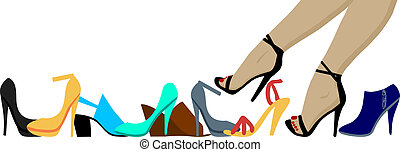 Legs and shoes - Woman legs and many high heels shoes