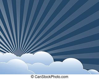 Vintage background with clouds. Flat design illustration.