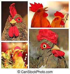 collage  with easter cocks  - decorative figurines