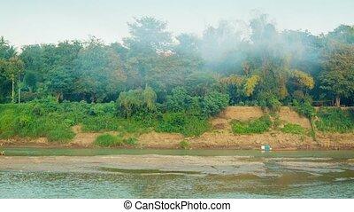 Panorama riverbank near Luang Prabang, Laos - Video 1080p -...
