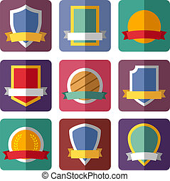 Vector coats of arms, shields, ribbons, flat design