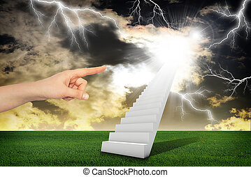 Finger indicates stairway with thunderstorm