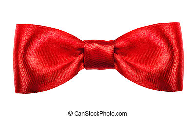 Red gift bow. Ribbon. Isolated on white. Clipping Parth