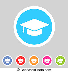 Flat graduation cap icon - Vector flat graduation cap,...