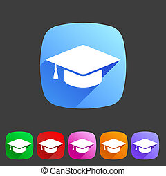 Flat graduation cap icon - Vector flat graduation cap,...