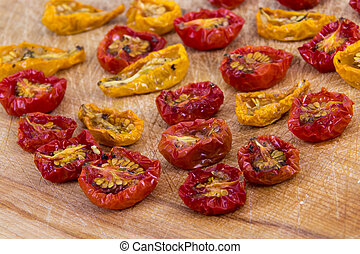 sundried cherry tomatoes high angle view