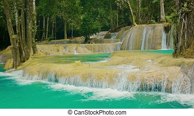 Fallsview on Kouang Si Waterfall, Laos, Luang Prabang -...