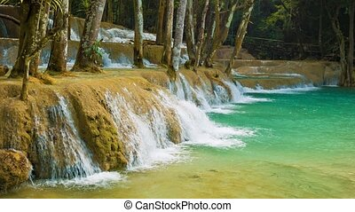 Kouang Si Waterfall, Laos, Luang Prabang. View with zoom. -...
