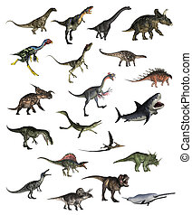 Set of dinosaurs - 3D render - Set of dinosaurs in white...