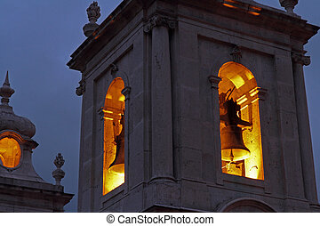 Church Bell Tower at Night