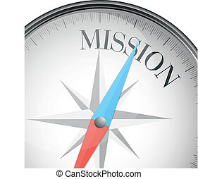 compass mission - detailed illustration of a compass with...