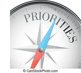 compass priorities - detailed illustration of a compass with...