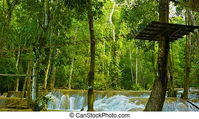 Vertical panorama of Kouang Si Waterfall, Laos, Luang...