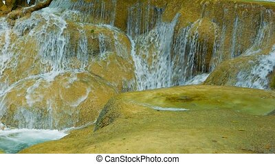 Close-up of moving water Kouang Si Waterfall, Laos, Luang...