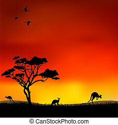 Kangaroos in the red sky