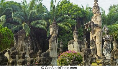 Panorama in sculpture Buddha Park Xieng Khuan Laos,...