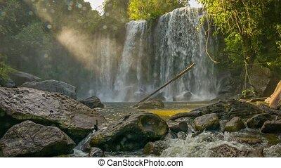 Waterfall view in Phnom Kulen National Park. Cambodia, Siem...