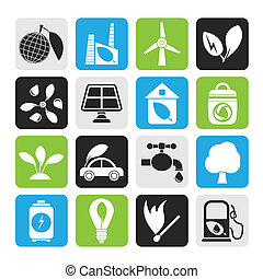 Environment and ecology Icons - Silhouette Green,...