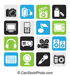 multimedia and technology icons