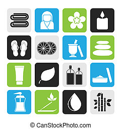 Spa objects icons - Silhouette Spa objects icons - vector...